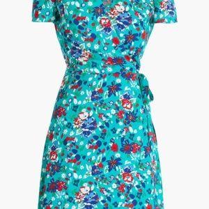 J. Crew Turquoise Floral Wrap Dress